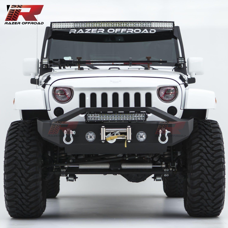 Razer auto 07 17 jeep wrangler jk black textured rock crawler stubby razer auto 07 17 jeep wrangler jk black textured rock crawler stubby front bumper with aloadofball Gallery