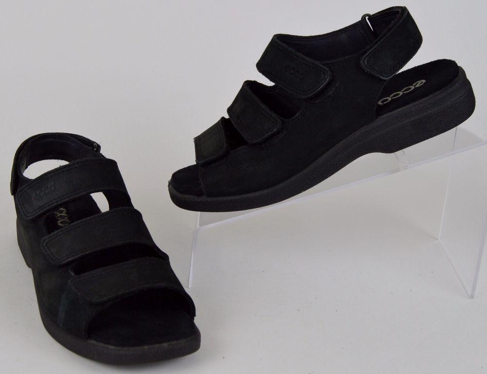 e8c1b162949b ECCO Women s Black Nu-Buck Leather 3 Velcro Strap Shock Point Sandals 6-6.5  37  ECCO  Slingbacks  Casual