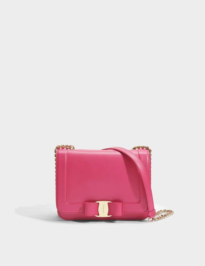 Salvatore Ferragamo Vara Rainbow Small Bag in Fuchsia Liberty Leather 00067a03835be