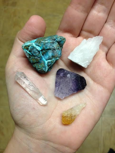 Hand-picked collection of stones for you to use in your decor or designs!    This collection includes raw chrysocolla, purple fluorite, a small
