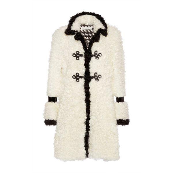 Philosophy di Lorenzo Serafini Kalgan Fur Coat (3.310.555 CLP) ❤ liked on Polyvore featuring outerwear, coats, black, knee length coat, flared coat, flare coat, fur coat and long sleeve coat