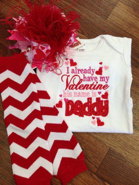 Daddy Is My Valentine Heart Onesie Red Pink Light Pink