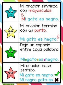Como Escribir Oraciones Como Una Estrella Poster Spanish Writing Spanish Teaching Resources Bilingual Classroom