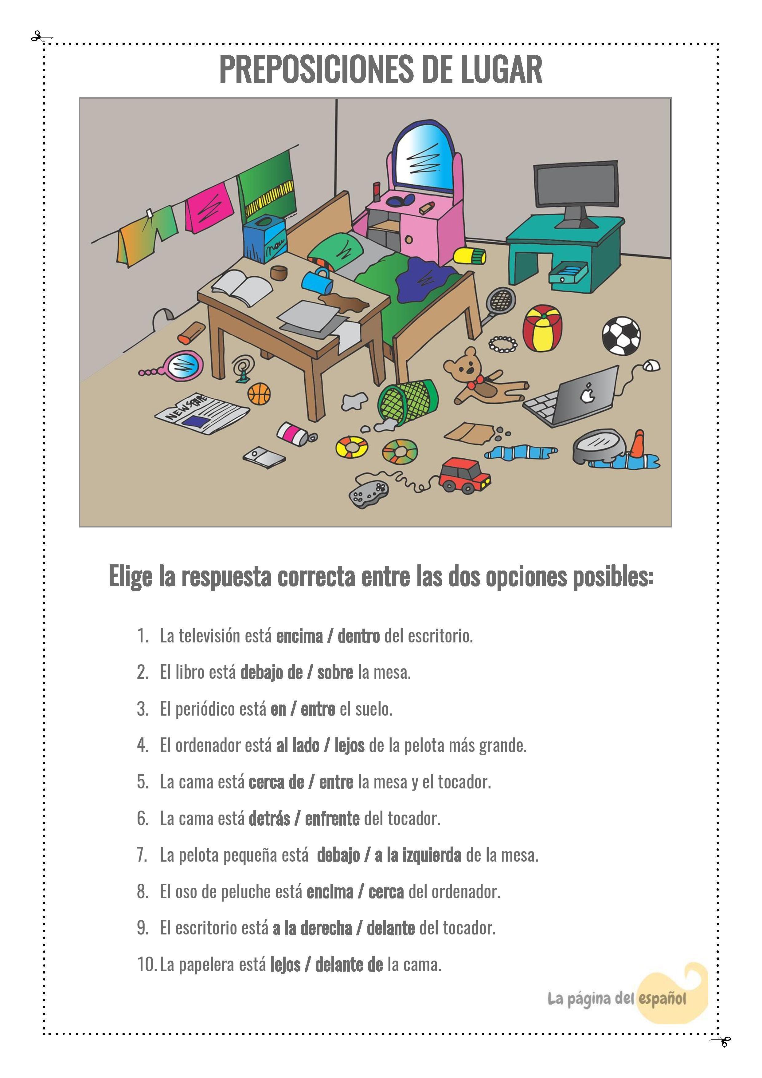 Preposiciones De Lugar La Pagina Del Espanol With
