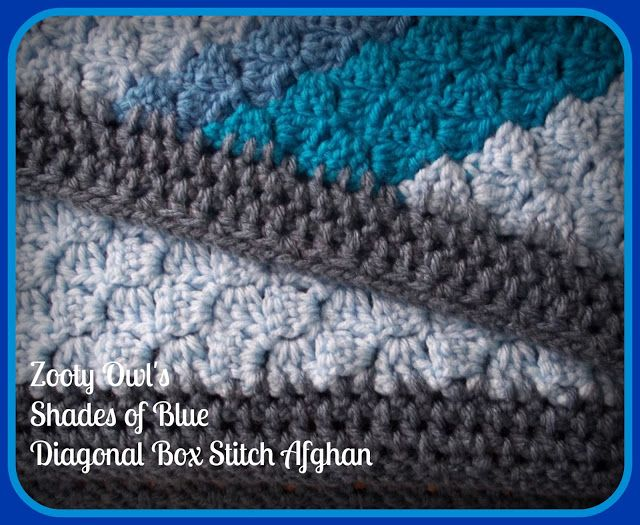 Diagonal Box Stitch Afghan - Shades of Blue | a Crochet a | Pinterest