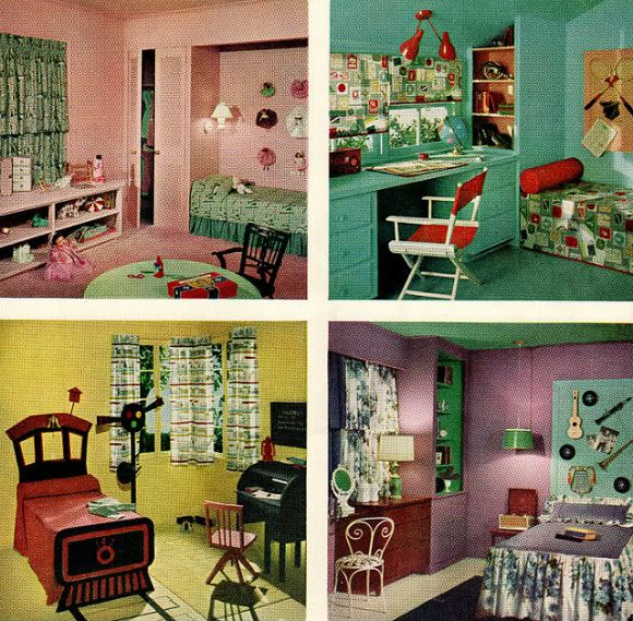 Chronically vintage four marvelously colourful 1950s Vintage childrens room decor
