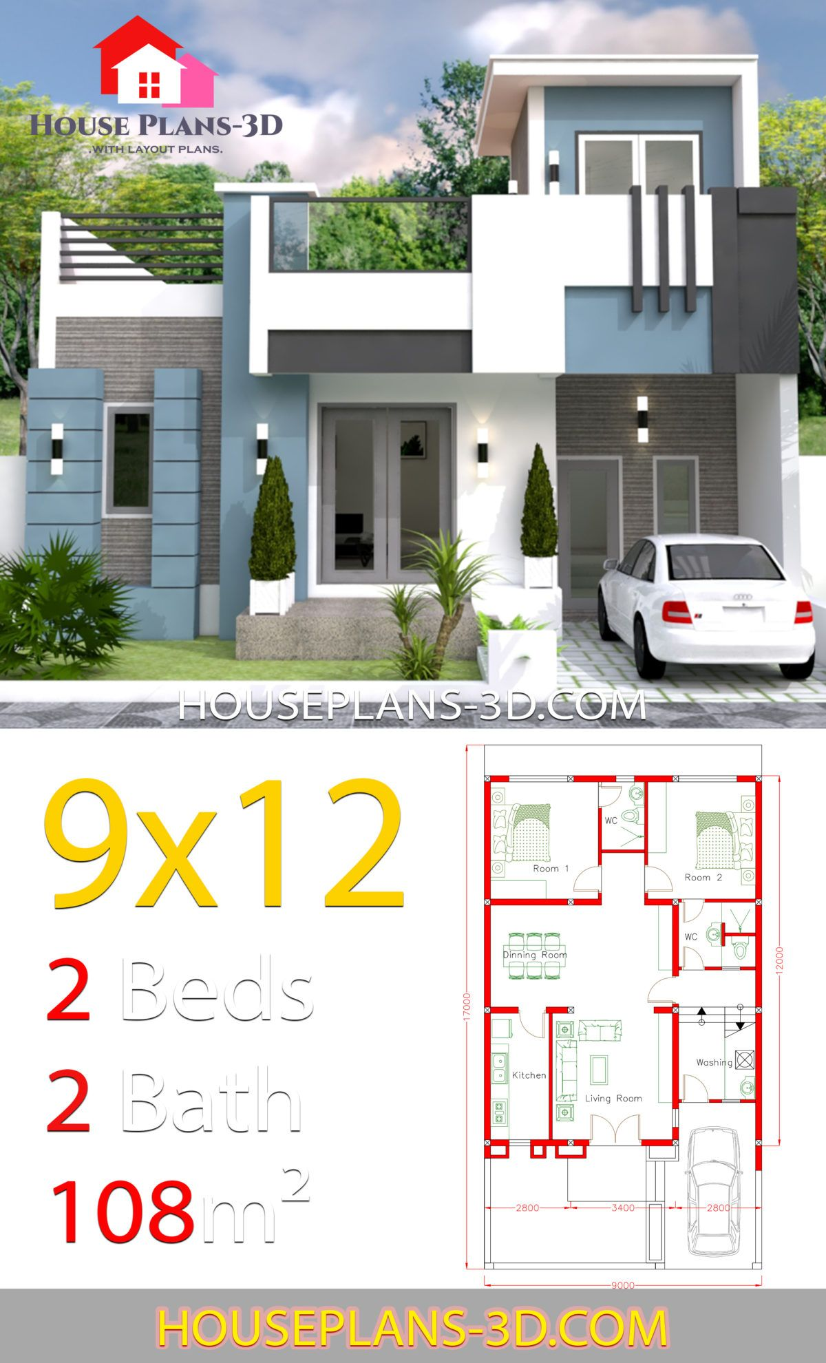 House Design 9x12 With 2 Bedrooms Full Plans House Plans 3d House Plans Small House Design Exterior Architectural House Plans