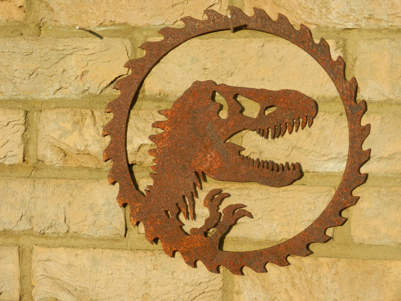 Dinosaur Circular Sawblade / Rusty Dinosaur Metal Art / Garden ...