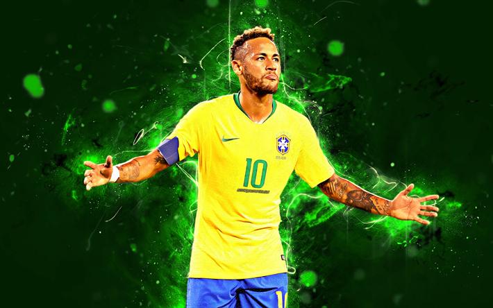 Download wallpapers Neymar, goal, 4k, Brazil National Team