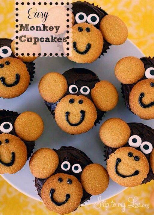 Monkey Cupcakes für Jungle Baby Shower  SO COOL  Vanille Waffeln und Schoko