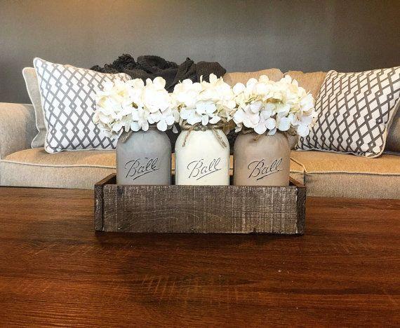 coffee table decor neutral toned mason jar centerpiece mason jar by allthatsrustic - Rustic Living Room Decor Pinterest