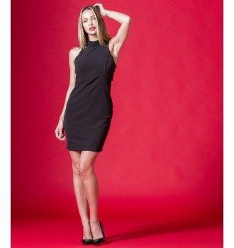 3aff664e7146 Midi Κρεπ Φόρεμα με Open Cuts στη Πλάτη - Μαύρο