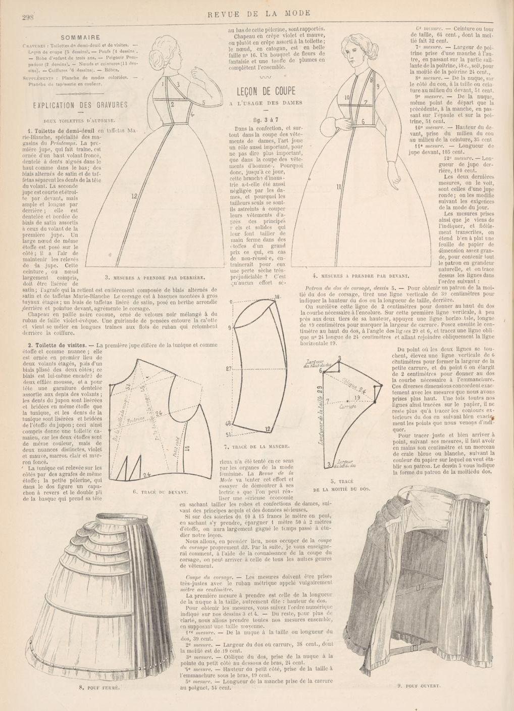Bodice drafting and measuring pattern 1872 Revue de la Mode | XIX ...