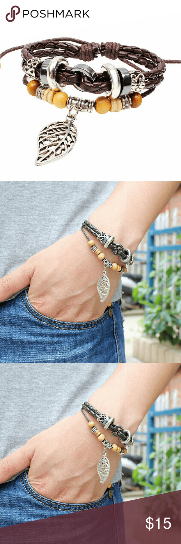 Leather bracelet with maple leaf pendant bohemian style braclet
