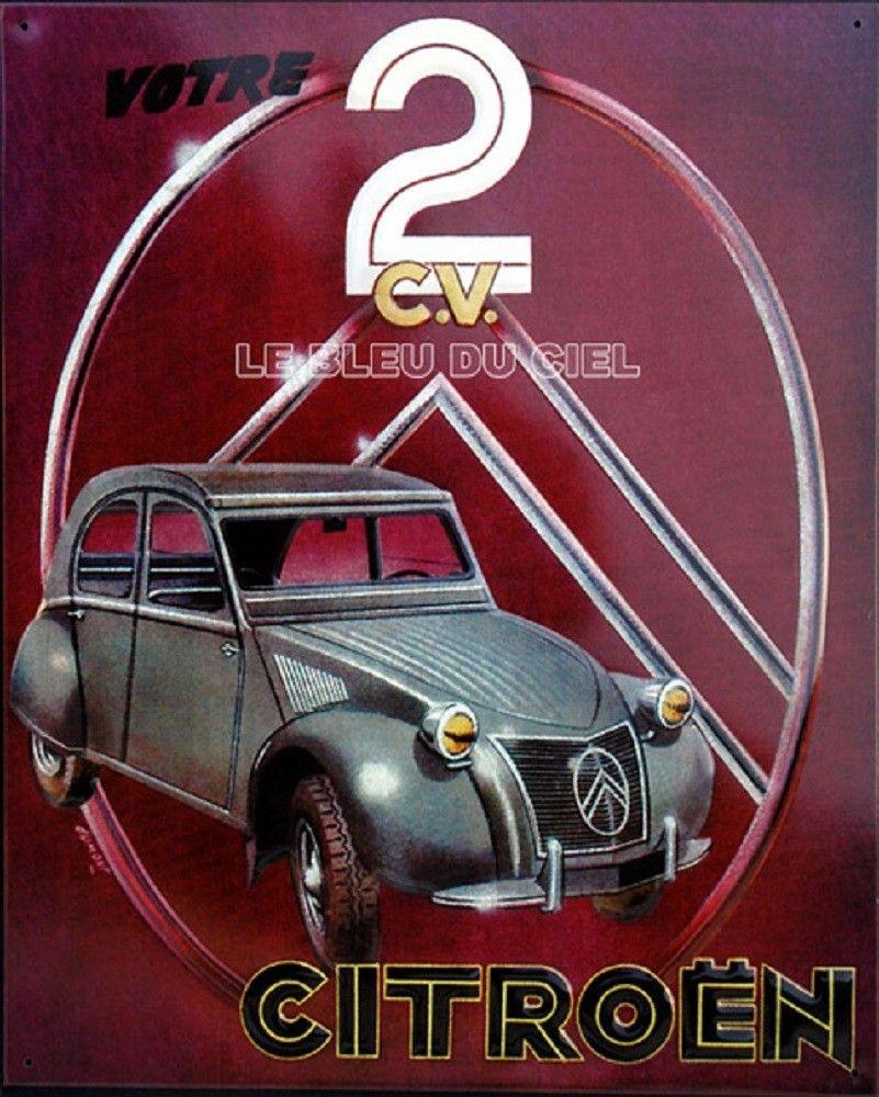 Plaque m tal d co 2cv citro n 3d objets d coratifs r tro - Garage metallique pour voiture ...