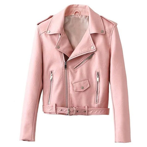 7d9568944a87 Yoins Pink Leather Punk Jacket (225 RON) ❤ liked on Polyvore featuring  outerwear
