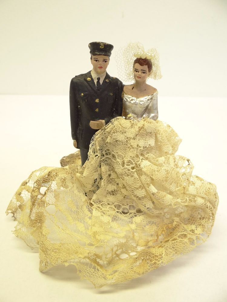 Vintage Used Husband & Wife Army Dress Blues Wedding Cake Decorative ...