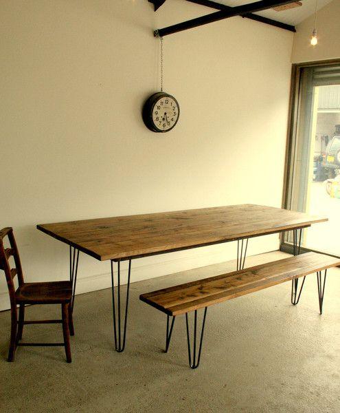 Reclaimed Oak Dining Table Bench Set Eames Era Vintage Industrial