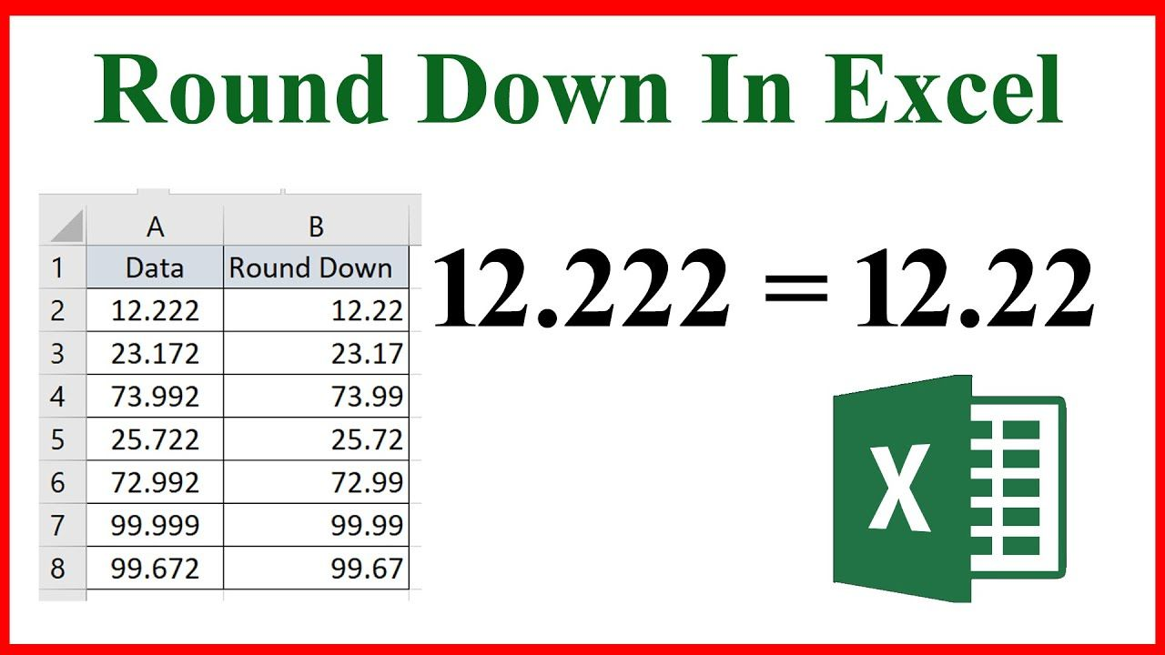 How to Round Down Numbers in Excel Using Function   Excel ...