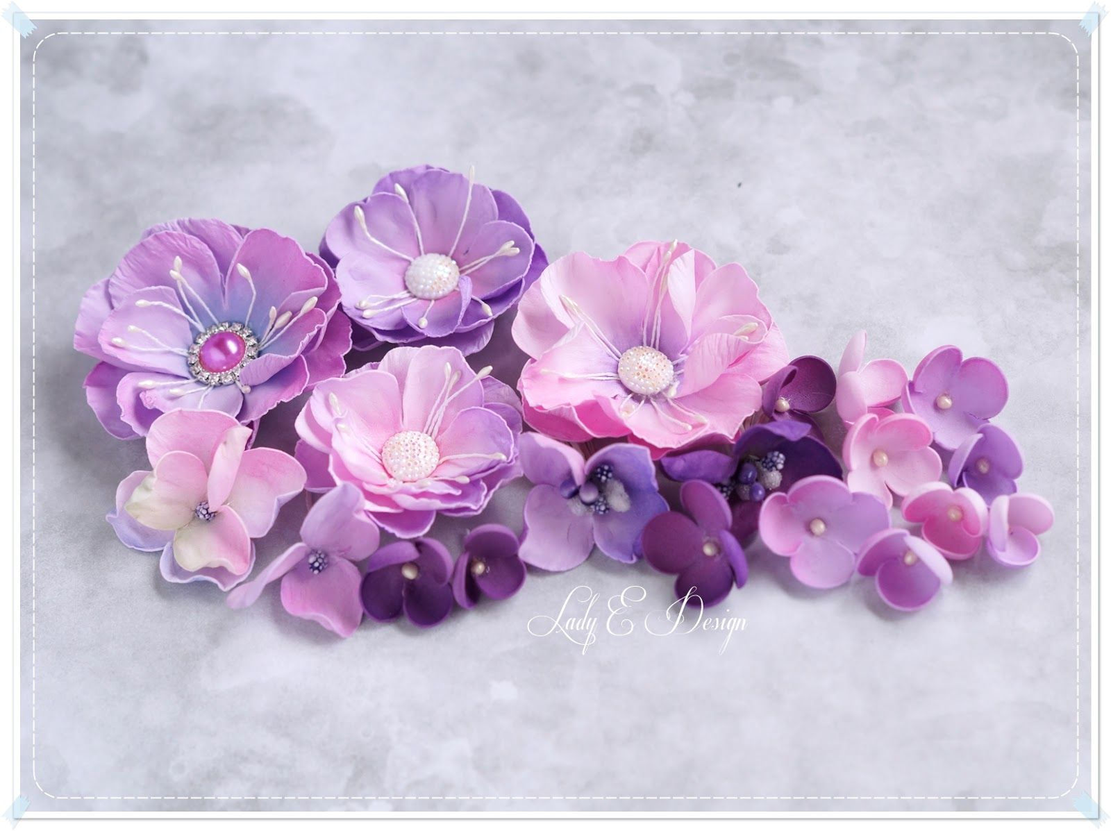 PAPERCRAFT PINK AND LILAC FLOWERS  FOR CARDS AND CRAFTS