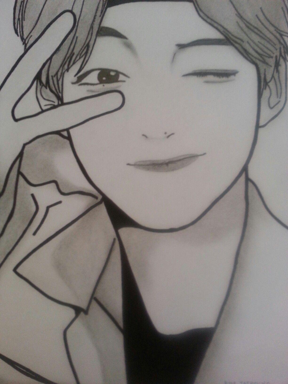 Kim Taehyung From Bts Kpop Drawings Easy Drawings Bts Drawings