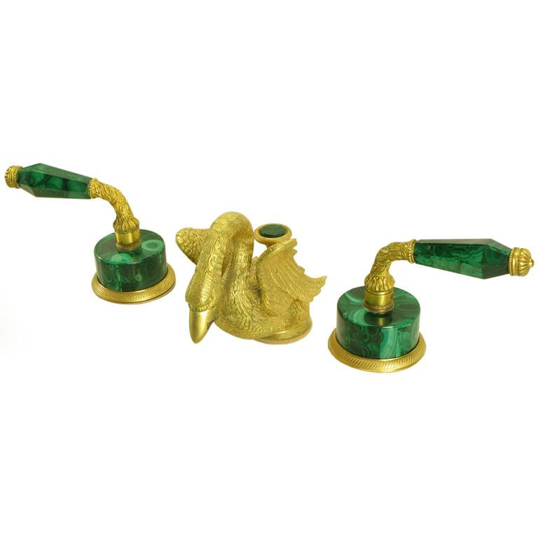 Vintage Sherle Wagner Malachite & Gold Plated Faucet Set | Bronze ...