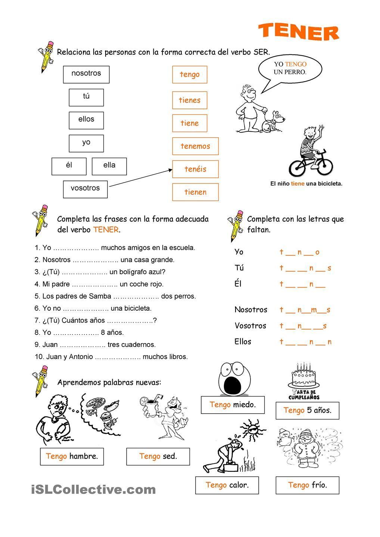 worksheet Tener Que Worksheet verbo tener pinterest worksheets tener
