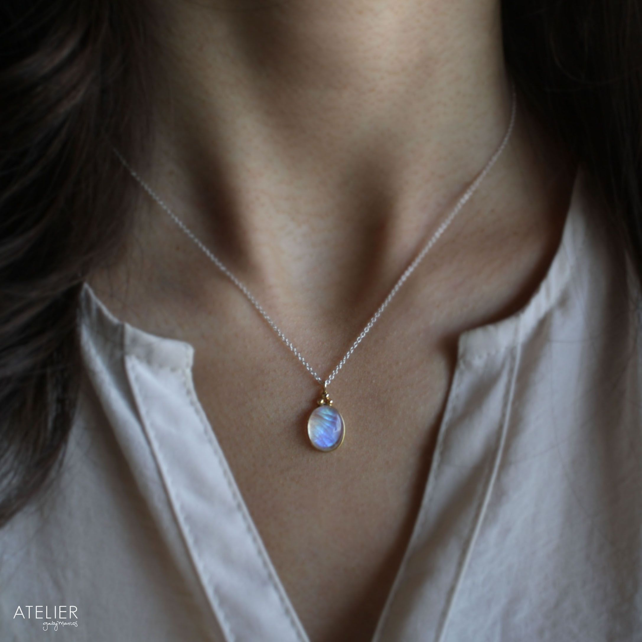 Flashy Moonstone Necklace set in Solid 14kt Gold & Sterling Silver Chain by ATELIER Gaby Marcos