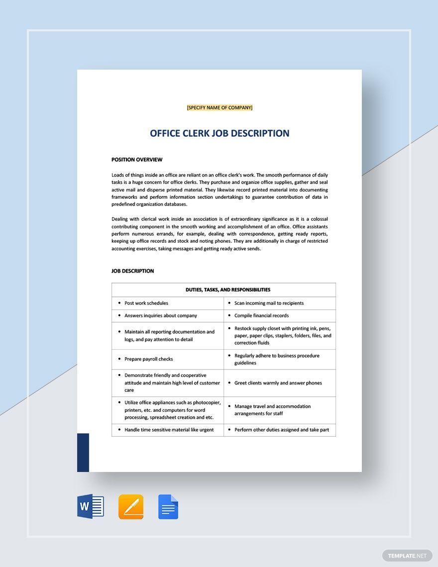 Office Clerk General Job Description Templates, Job