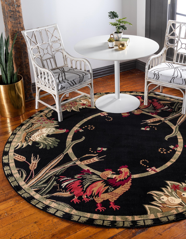 Black 8 x 8 country round rug area rugs esalerugs