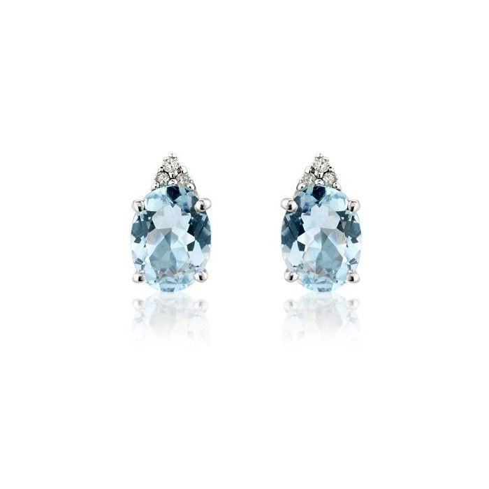 Pair of 4st claw set oval aquamarines and trefoil diamond stud earrings. 9ct  white gold