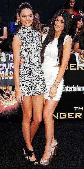 Black & white minis & towering heels....Kendall & Kylie Jenner.