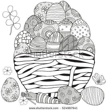 Basket With Easter Eggs On White Background Hand Drawn Doodle Zentangle Design Elements Black And Coloring Book Page For Adult