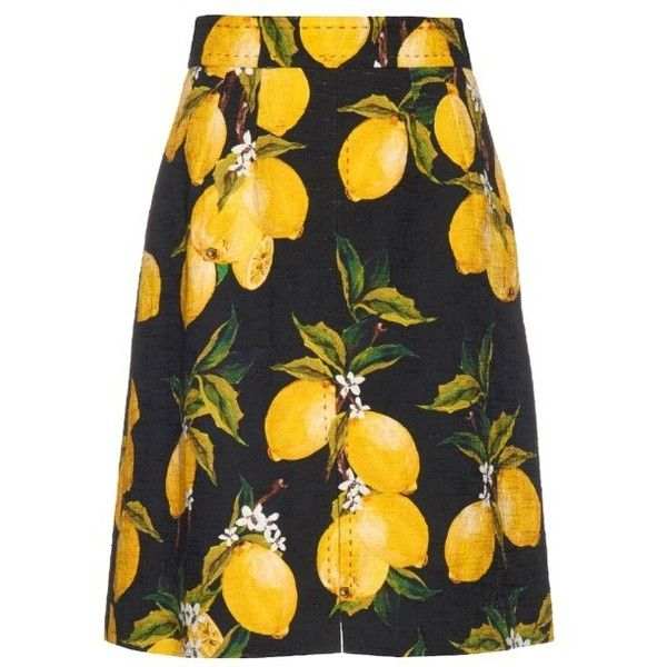 Dolce & Gabbana Lemon-print A-line skirt ($791) ❤ liked on Polyvore featuring skirts, black yellow, high waisted skirts, high rise skirts, yellow a line skirt, embellished skirt and a line skirt