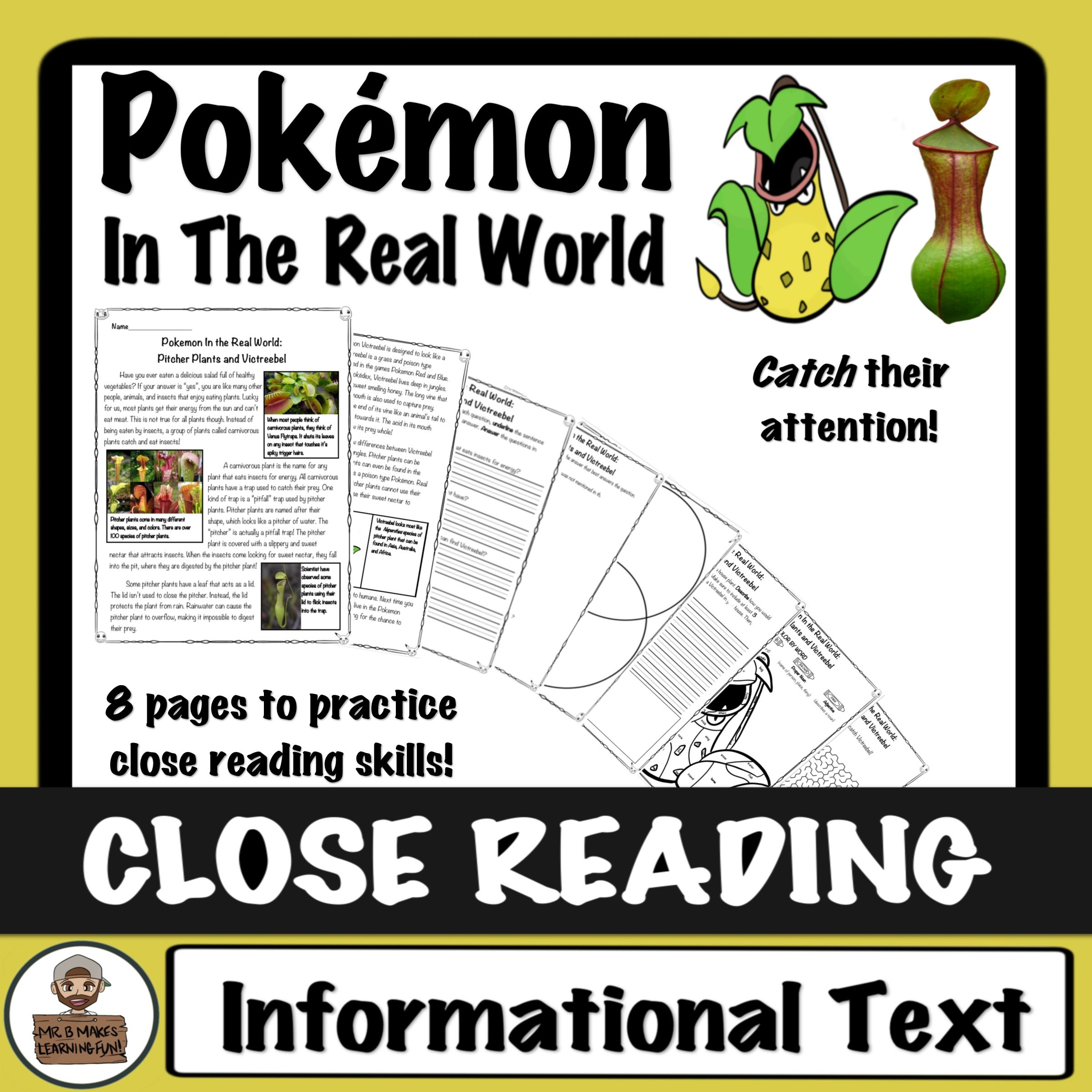 Pokemon Close Read And Worksheets Activities Pitcher