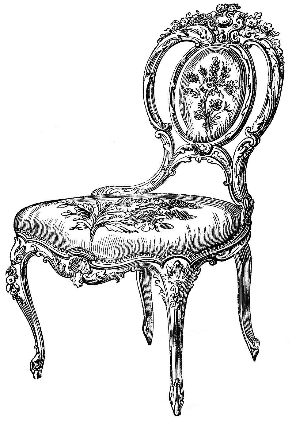 Chairs Frenchy Graphicsfairy003bwb Jpg Jpeg Image 966x1381 Pixels Clip Art Vintage Vintage Graphics Clip Art