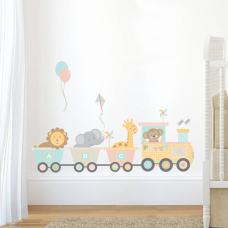 Pastel Jungle Train Wall Sticker Set. Nursery ... Part 69