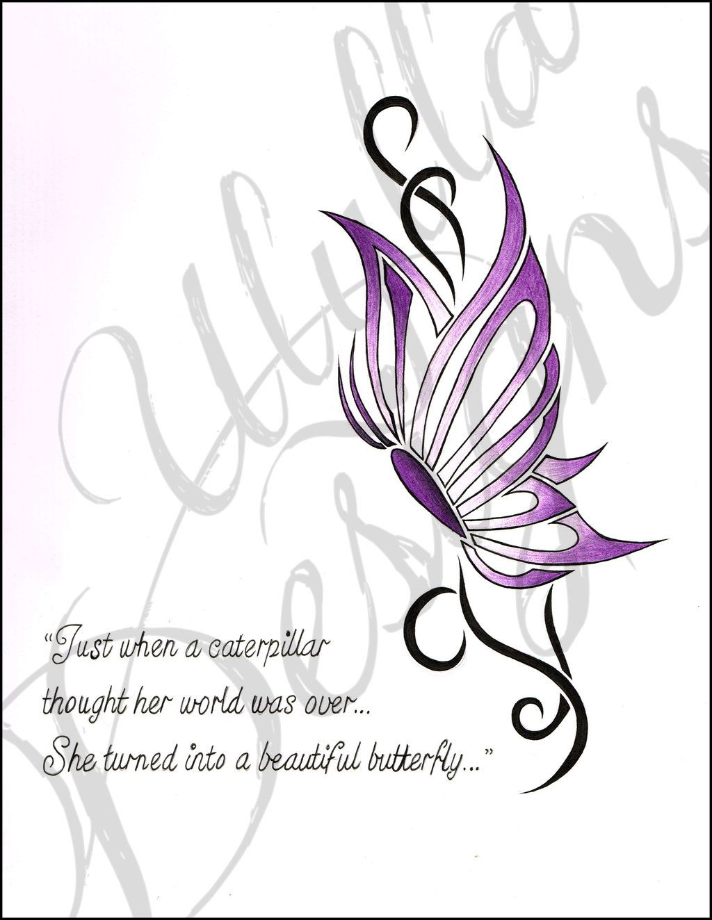 Simple Tribal Butterfly Tattoo Design by Ulylla on DeviantArt ...