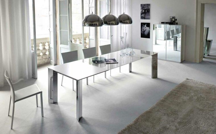 mesa grande en el comedor minimalista | CASAS OPEN PLAN | Pinterest