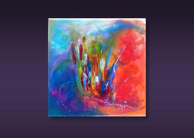 toile abstraite alma tuya s rie 21 grammes multicolore acrylique r sine aquarelle. Black Bedroom Furniture Sets. Home Design Ideas