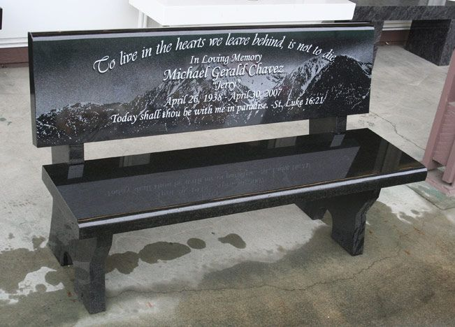 Granite Memorial Garden Bench Set At Saint Gail Catholic Church In Gardnerville Nv Pacific Coast Memorials Granite Memorial Memorial Benches Garden Bench