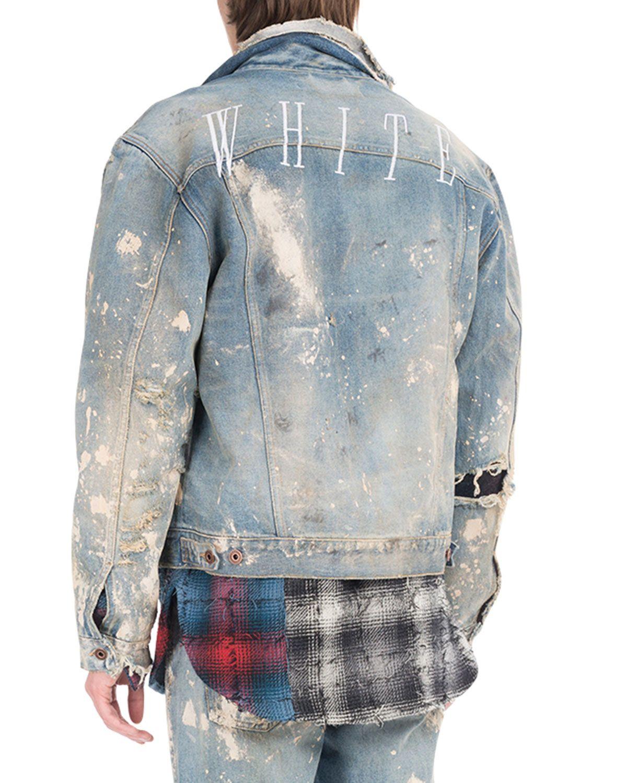 Off White Painted Splatter Oversized Denim Jacket Oversized Denim Jacket Jackets Denim Jacket [ 1500 x 1200 Pixel ]