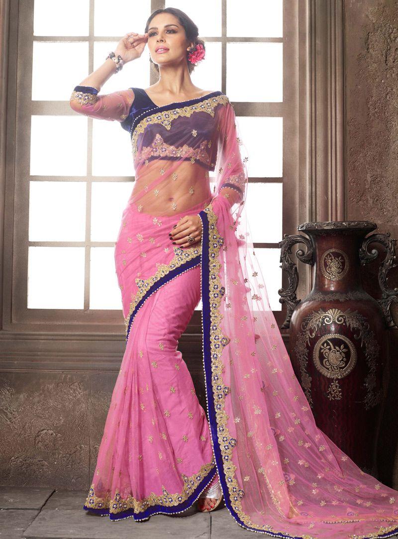 Pink Net Festival Wear Saree 105592 | India - इंडिया | Pinterest