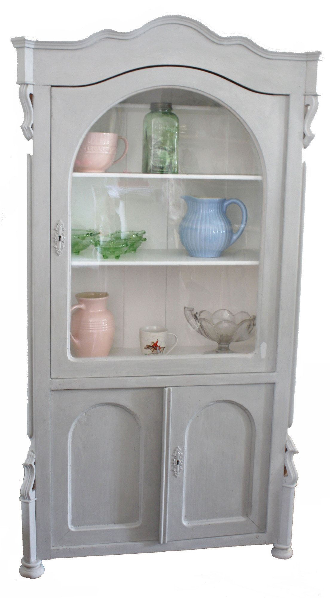 STUNNING ANTIQUE PINE DISPLAY CABINET PAINTED IN ANNIE SLOAN PARIS GREY AND  FINISHED WITH WAX. - STUNNING ANTIQUE PINE DISPLAY CABINET PAINTED IN ANNIE SLOAN PARIS