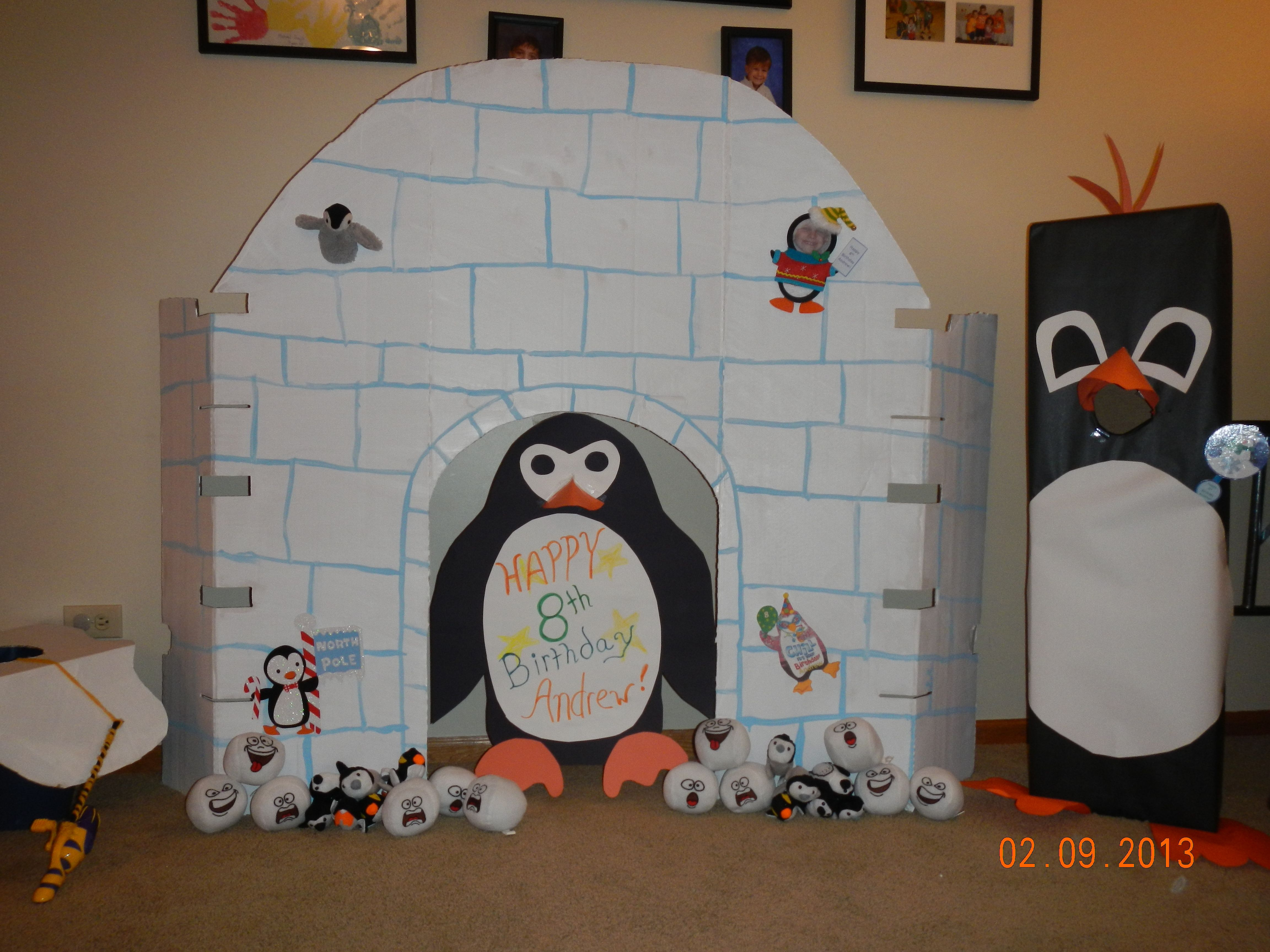 What is a Penguin Birthday Party without an igloo and some penguins. We are doing some fishing, ball throwing, Penguin gliding, gummy worm contest and much more.