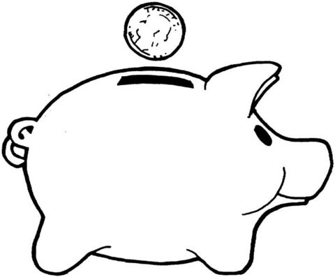 Money Piggy Bank Coloring Pages Kids Saving Money Super