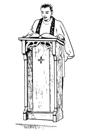 coloring page priest behind lectern