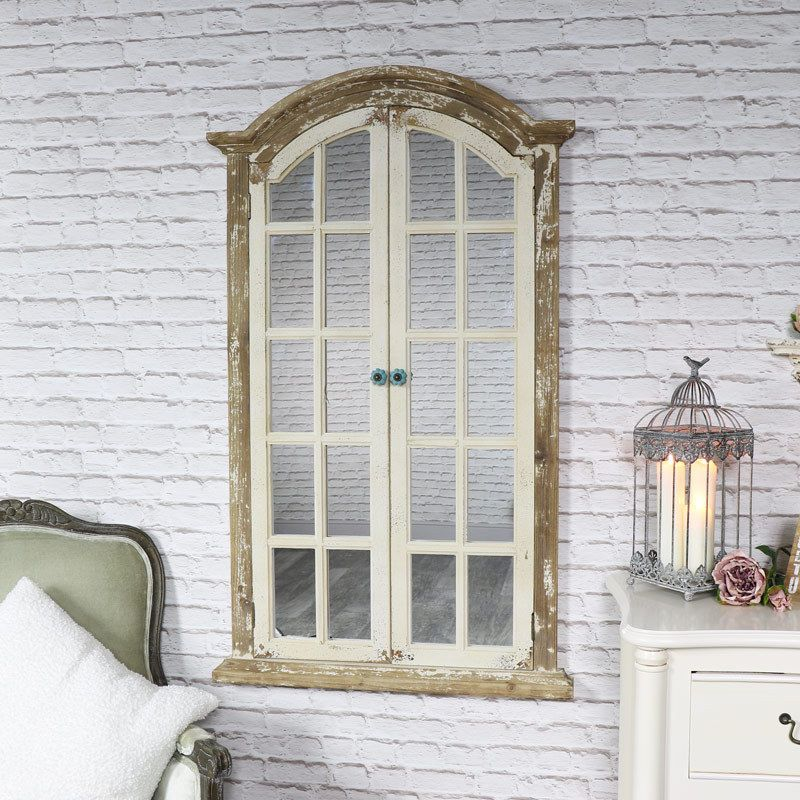 Large Rustic Cream Natural Wood Wall Mounted Window Shutter Mirror Vintage Chic Ebay Rustic Shutters Window Mirror Dining Room Mirror Decor