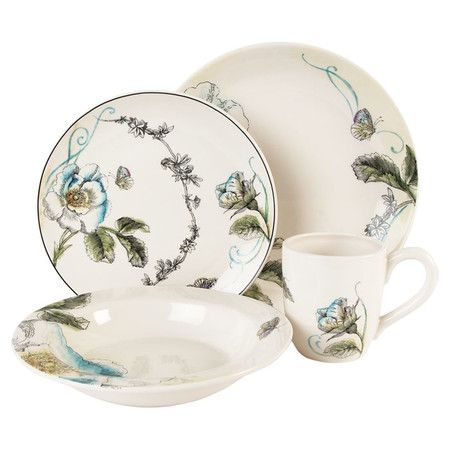 Lend a touch of garden-chic appeal to your tablescape with this lovely dinnerware set, showcasing a blooming floral motif. Includes a dinner plate, salad pla...