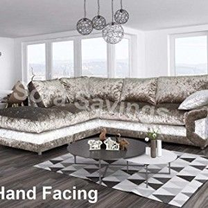 New Modern Calvin Crushed Velvet Brown And Mink Fabric Corner Sofa Formal Back With Free Footstool Corner Sofa Design Living Room Design Modern